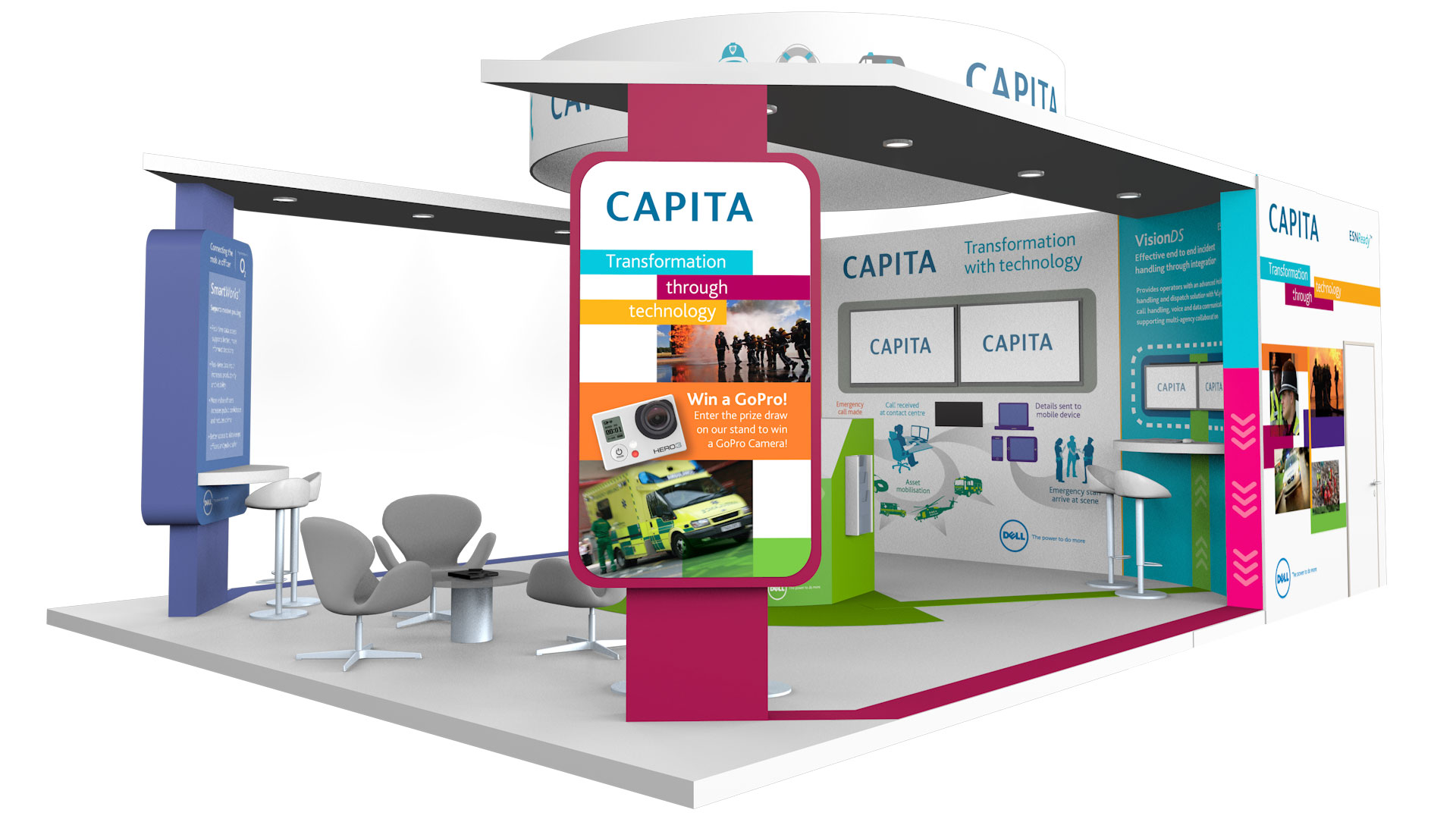 Exhibition Stand Design Software : Spinning clock digital games video animation events